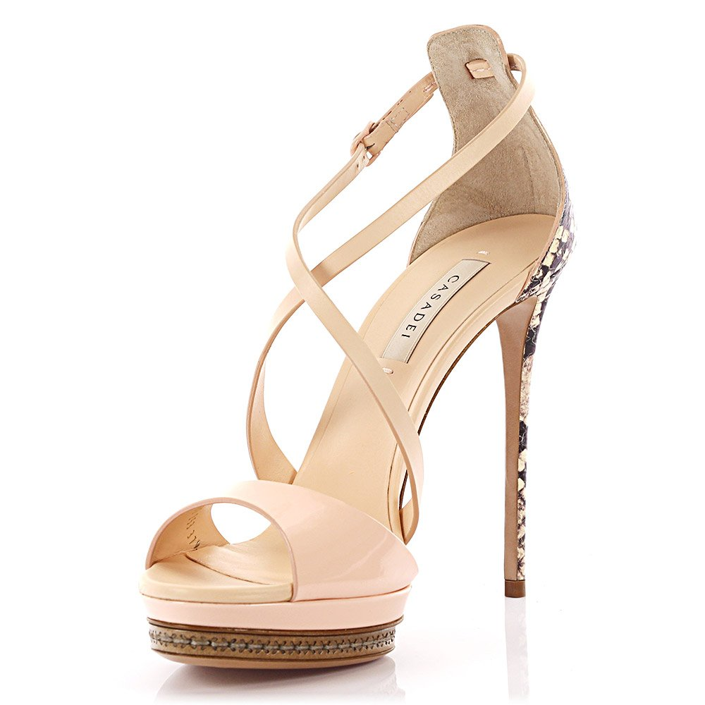 817844884d2 Casadei Platform Sandals Calfskin Snakeskin Pale Pink In Beige ...