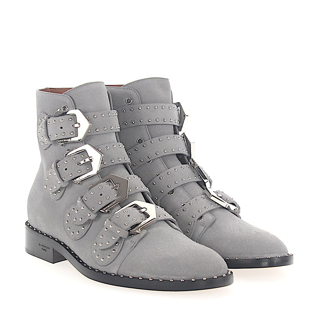 Givenchy Stiefeletten BE08143 Veloursleder grau Nieten