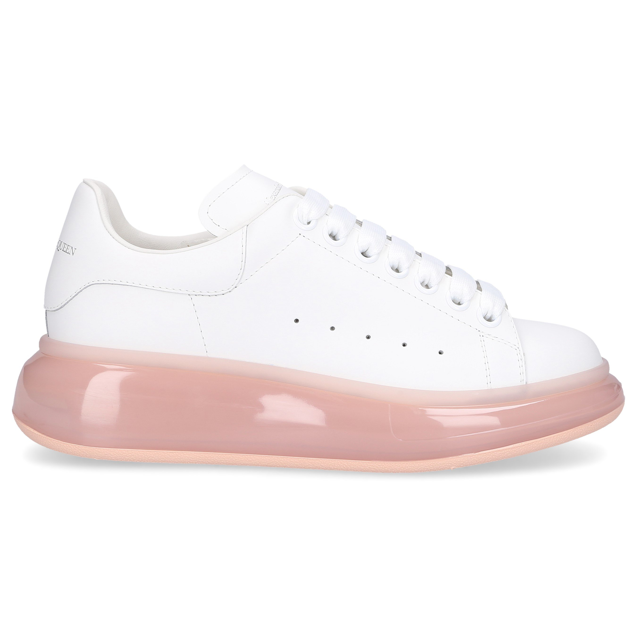 Alexander Mcqueen LOW-TOP SNEAKERS LARRY CALFSKIN LOGO WHITE ROSE