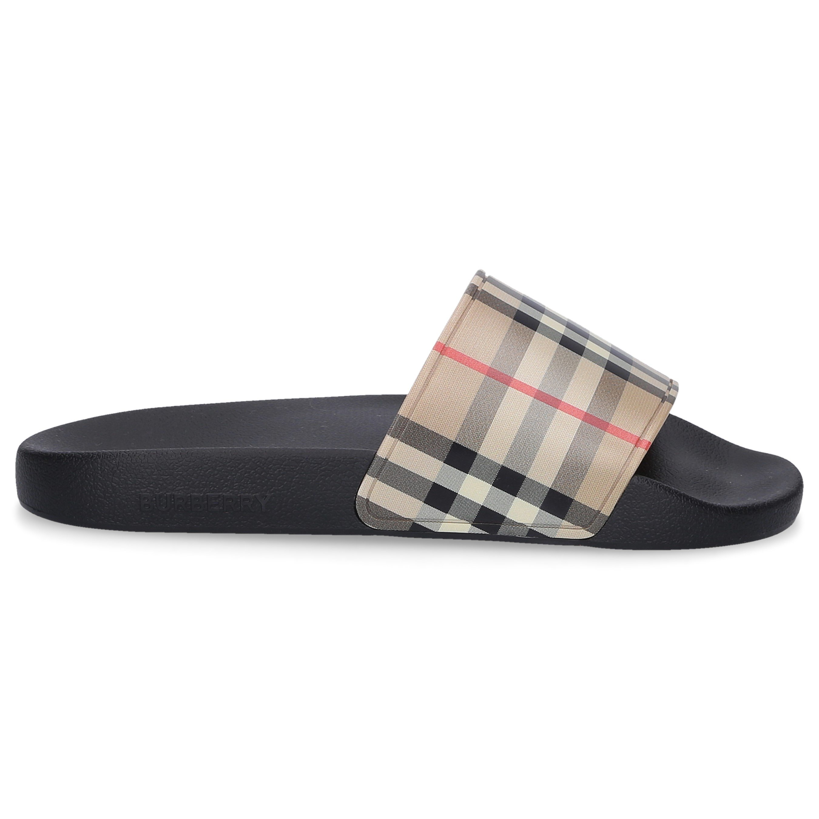Burberry BEACH SANDALS ARCHIVIO GUM LOGO BLACK BEIGE