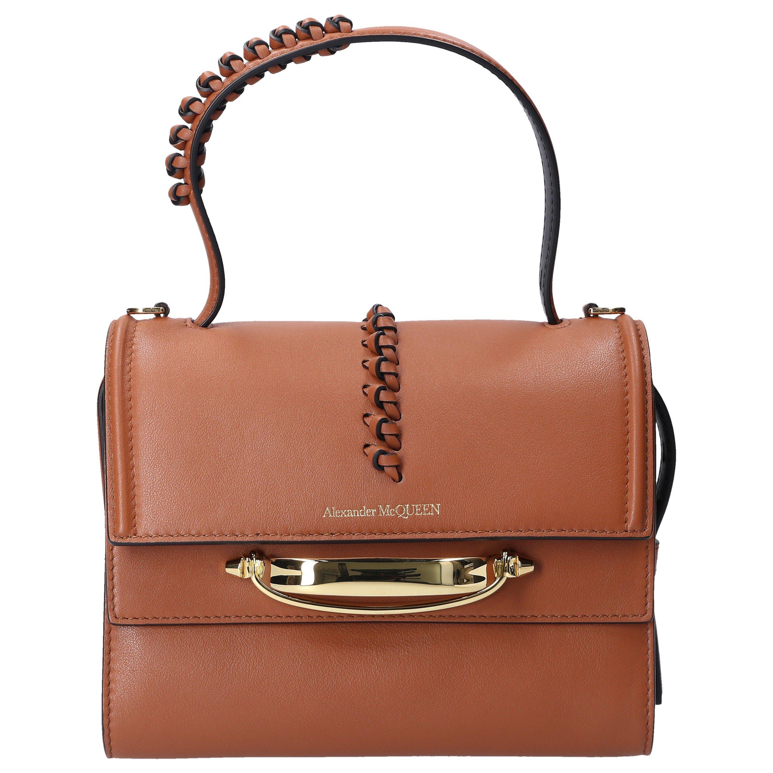 Alexander Mcqueen Women Handbag The Stroy Calfskin Logo Brown