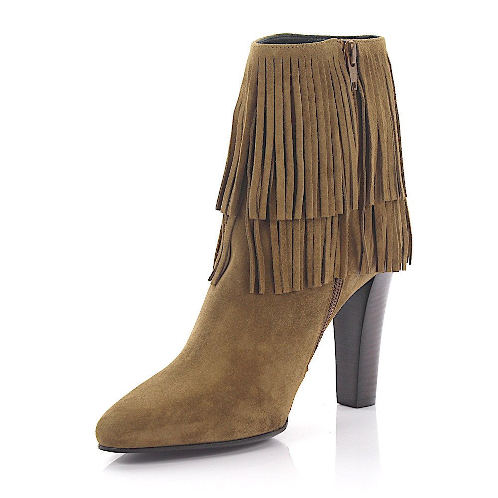 Saint Laurent High Heel Ankle Boots Suede Beige Fringe
