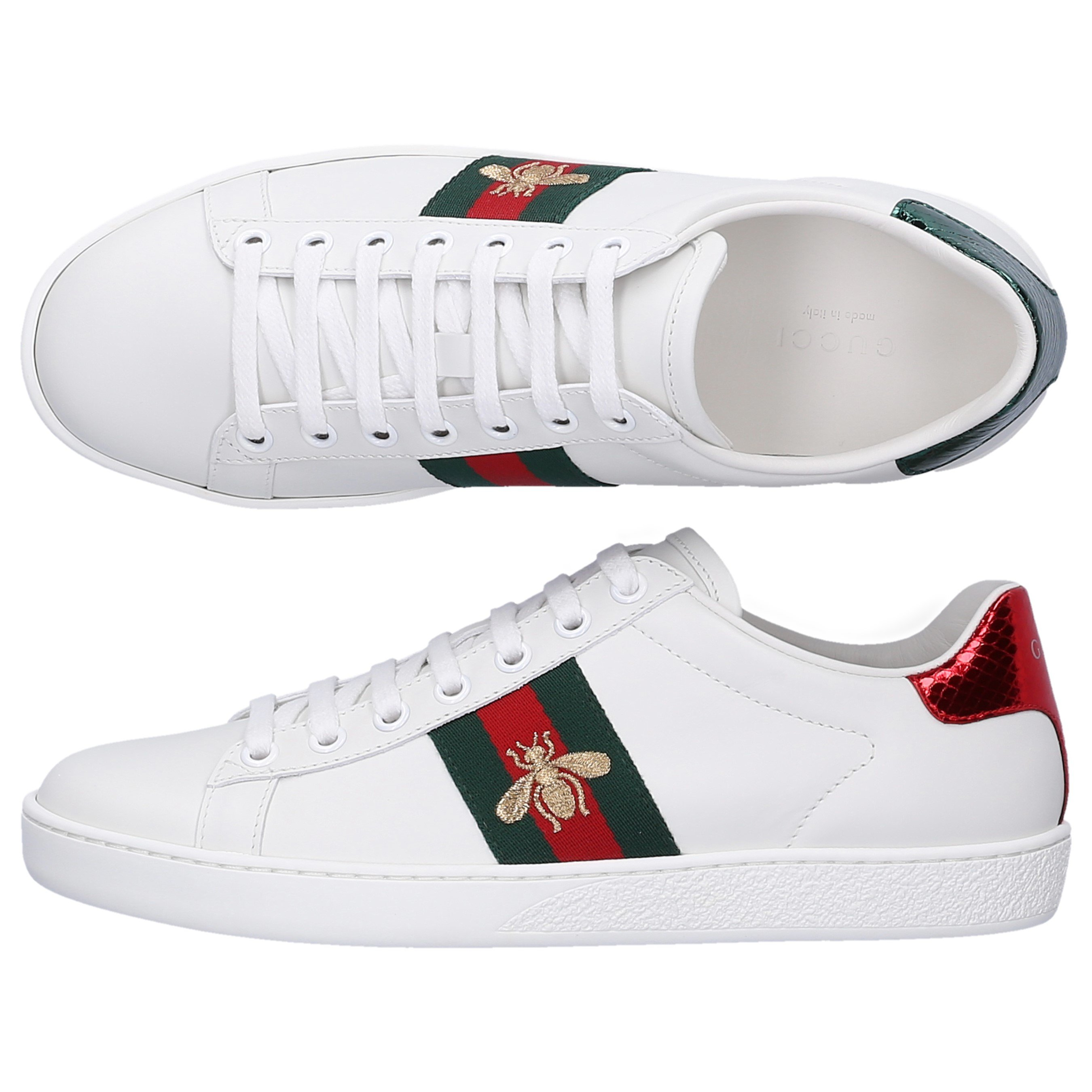 132398bb6fb6 Gucci Low-Top Sneakers New Ace Bee Calfskin Logo White | ModeSens