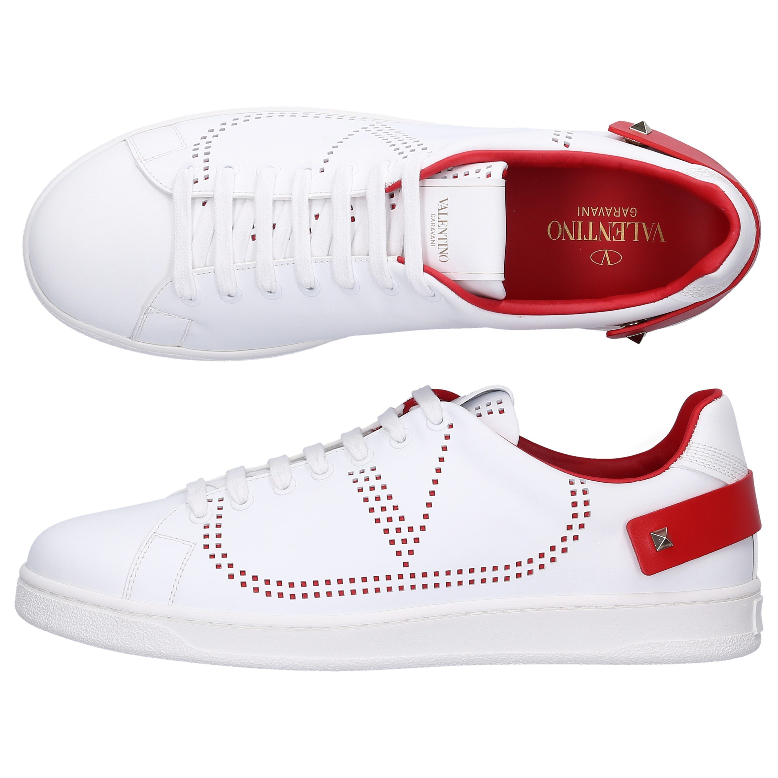 Valentino Low-Top Sneakers Backnet Calfskin Logo Rivets Red White In Blue,White