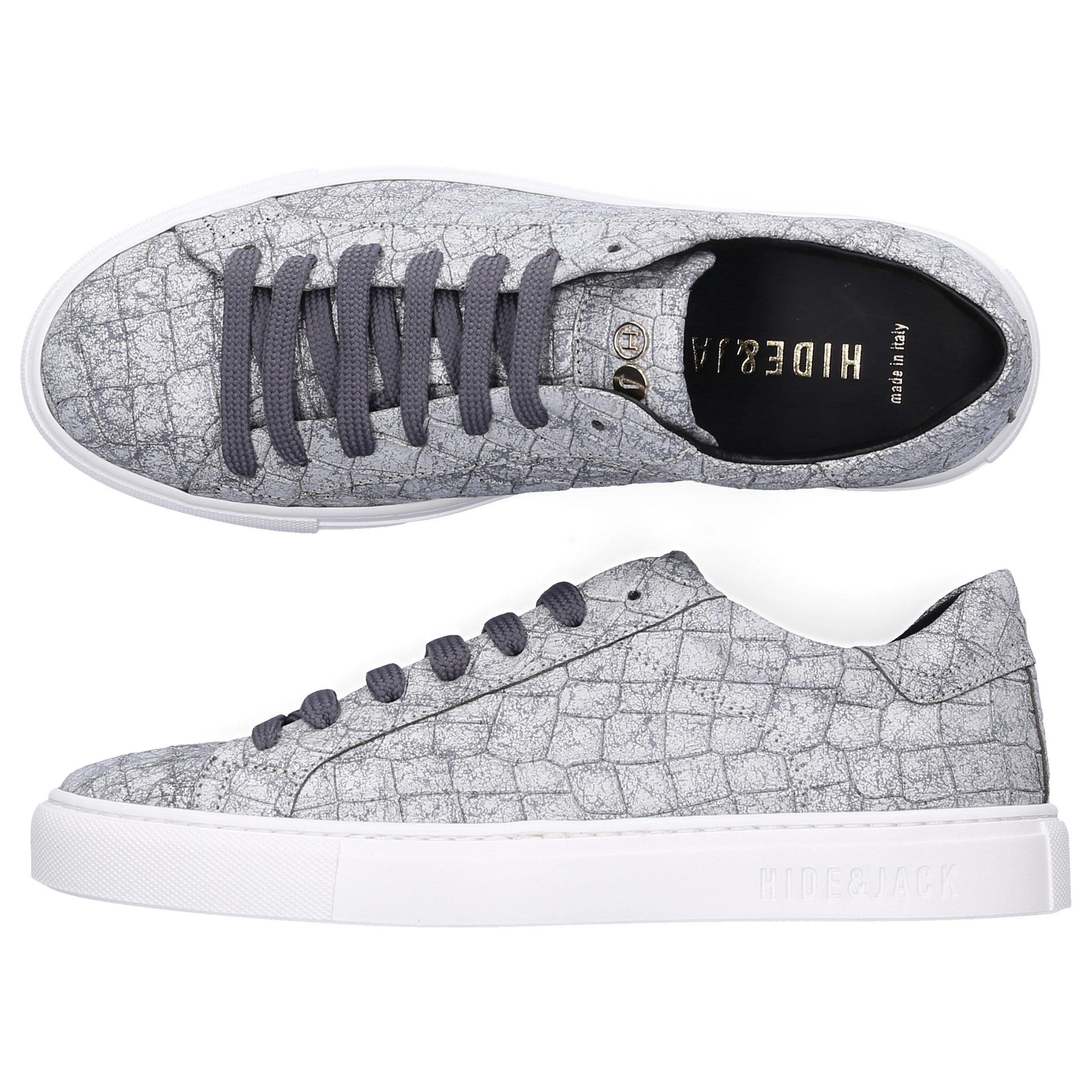 Hide & Jack Low-Top Sneakers Low Top Sneaker Calfskin Logo Silver White In Grey