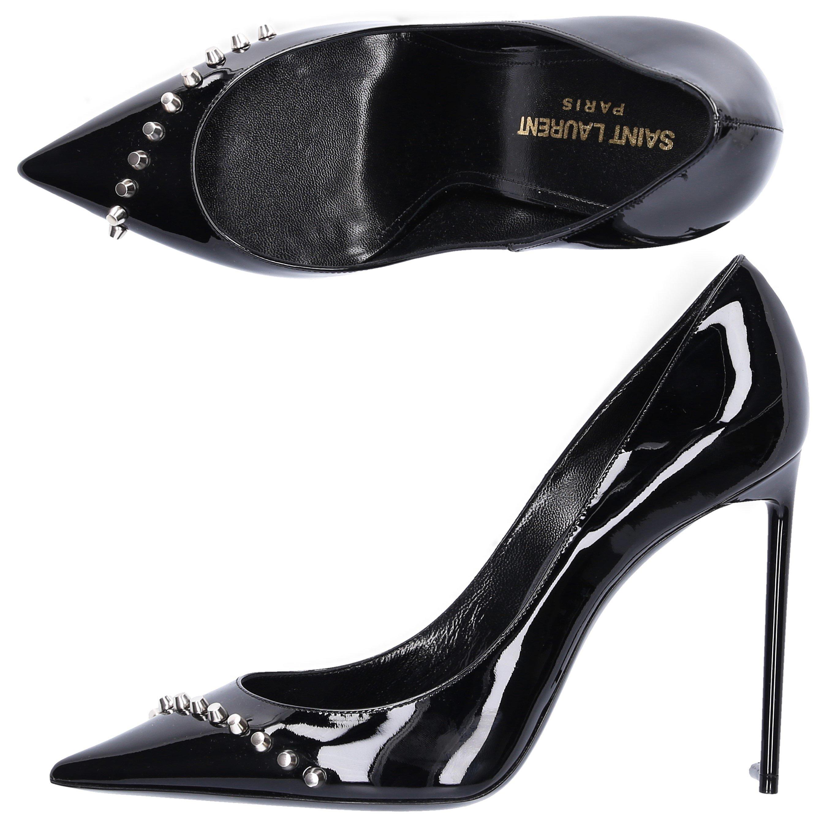 Saint Laurent High heels PUMPS ZOE105 PATENT LEATHER RIVETS BLACK