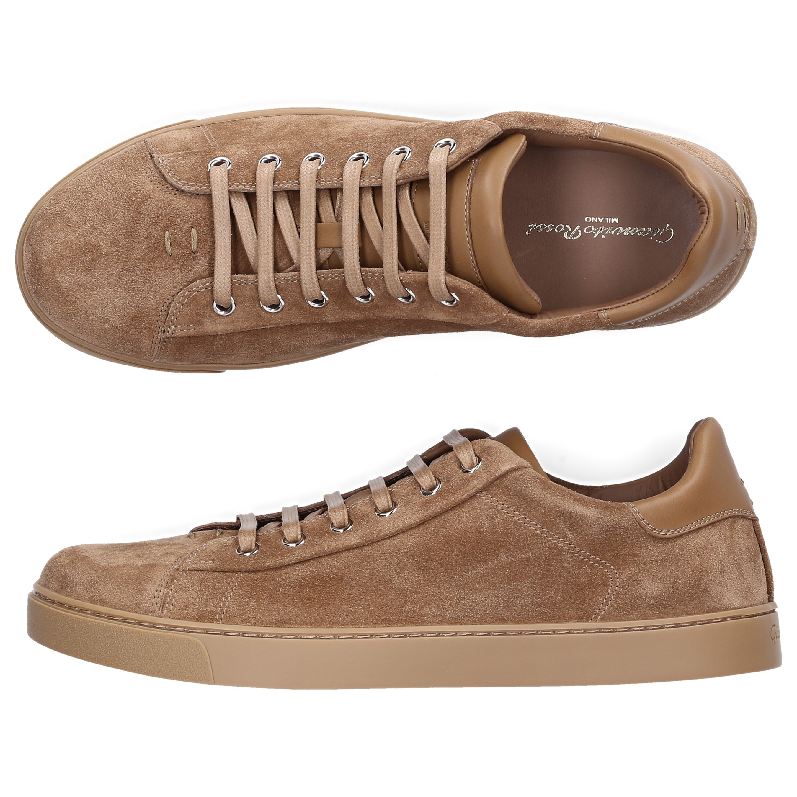 Gianvito Rossi LOW-TOP SNEAKERS LOW TOP CALF-SUEDE STITCHING CAMEL